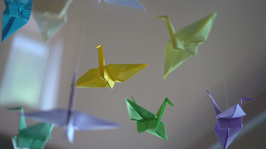 Origami Crane Birds Hanging By Stock Footage Video (100