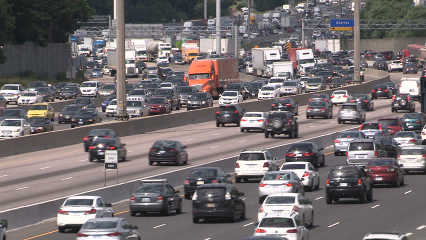 Toronto, Ontario, Canada July 2017 Epic traffic jam and gridlock on the highway in Toronto during rush hour  | Shutterstock HD Video #29197147