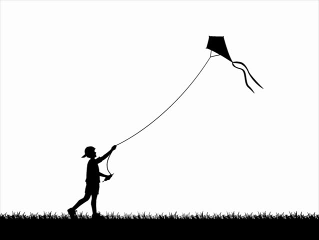Computer-generated silhouette animation depicting a boy flying a kite (concept: play or carefree)