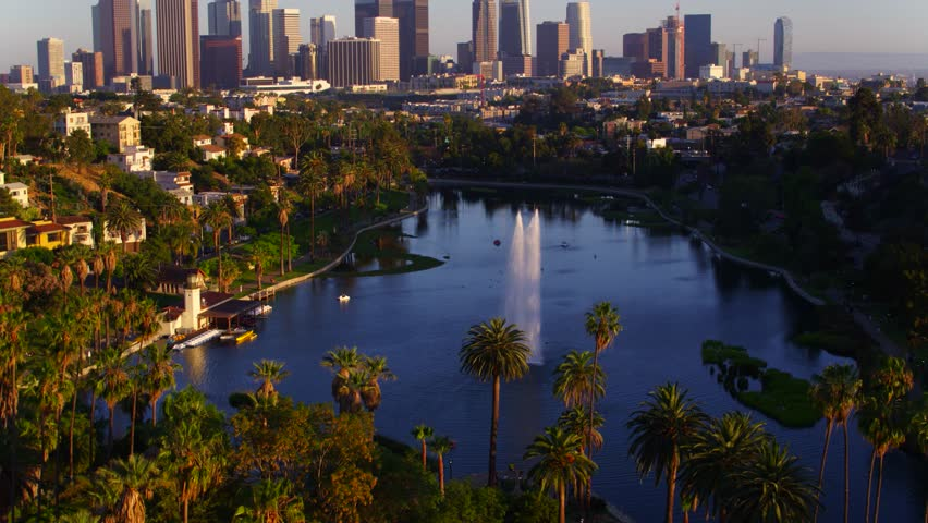 Echo Park Fountains with view of Downtown Los Angeles