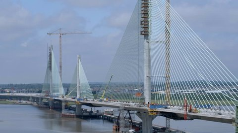Low Pass By a Cable Stayed Bridge in the Late Construction Phase