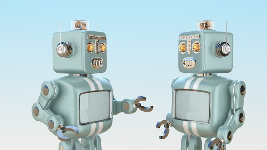 Two retro robots chatting with each other. Chatbot concept. 3D rendering animation.