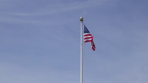 The US flag in Santa Cruz, at Pleasure Point, on the northern Monterey Bay in Santa Cruz County, California, USA, a world renowned surf location