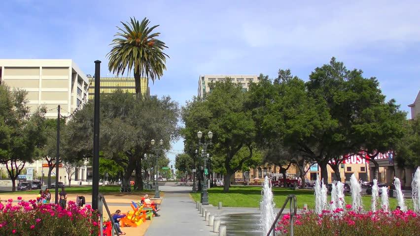 SAN JOSE, CALIFORNIA, USA - 15 APRIL 2017: fountain in downtown of San Jose