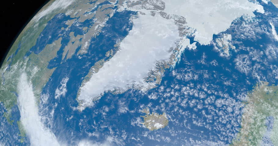 View of Greenland country, in the Artic with the atlantic ocean and Artic ocean, in planet earth from outer space gyrating in timelapse with the universe at background