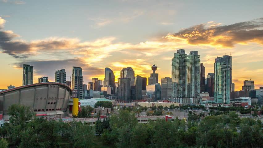Beautiful Calgary Sunset Time Lapse of Skyline 4k 1080p - Time lapse of sun setting behind downtown calgary alberta