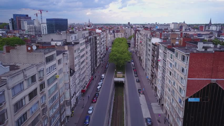 Antwerpen, Belgium, aerial drone city and transportation footage 4k