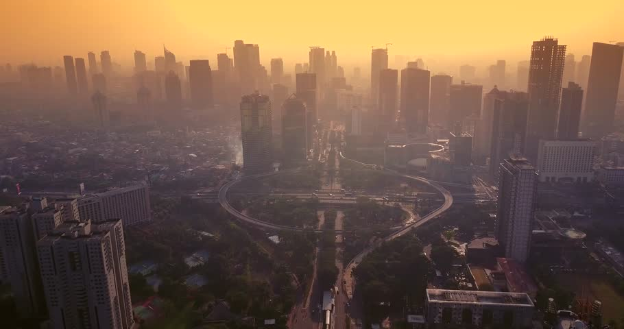 Aerial view of beautiful landscape of Semanggi road intersection in the misty morning, shot in 4k resolution