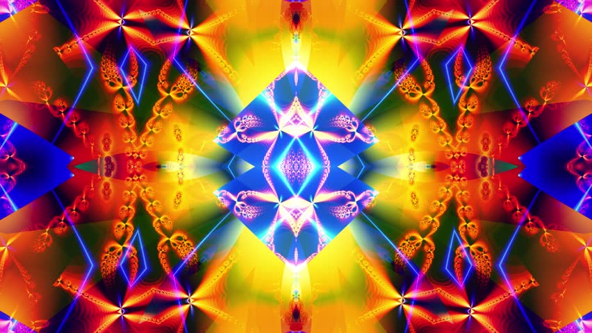 Grunge kaleidoscope sequence patterns. Abstract multicolored motion graphics background. Or for yoga, clubs, shows, mandala, fractal animation. Beautiful bright ornament. Seamless loop.