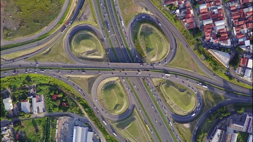 Drone bird's-eye (day) view of a cloverleaf interchange   Shutterstock HD Video #29318770