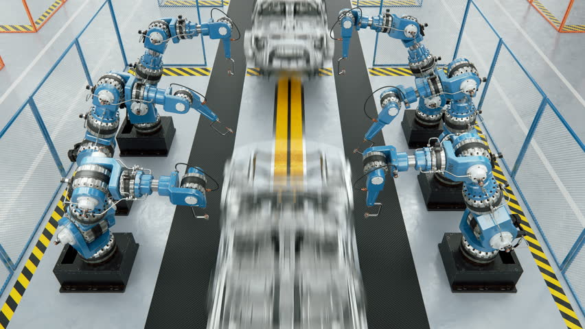 Working Car Conveyor Belt on the Automobile Plant with Spot Welding Robots