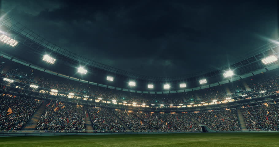Outdoor soccer stadium or arena full of spectators under a stormy sky. Full 3d modelled and animated soccer stadium with moving lights