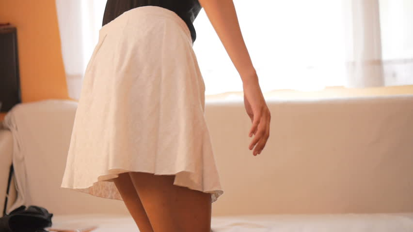 Young sexy woman enjoy leisure activity at home.  Dancing and spinning in the skirt | Shutterstock HD Video #29358022