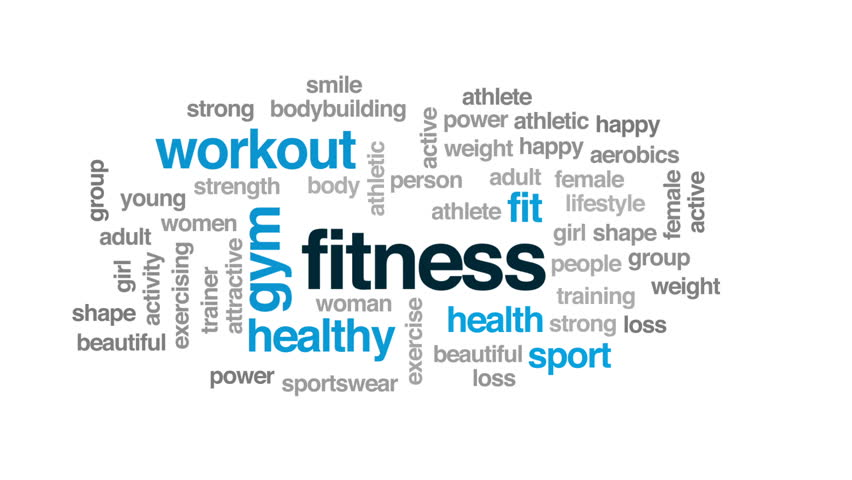 Fitness animated word cloud, text design animation.