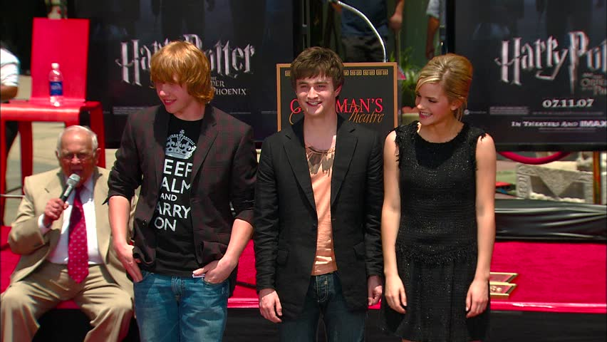 Hollywood, CA - JULY 09, 2007: Daniel Radcliffe, Emma Watson, Rupert Grint pose for pictures at the Harry Potter Handprints ceremony held at the Grauman's Chinese Theatre