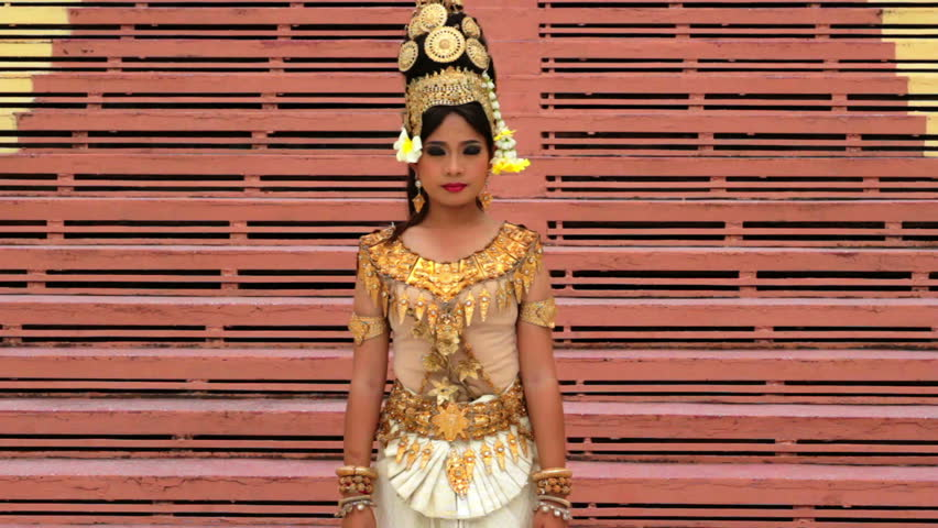A center shot of apsara Dancer beautiful supernatural female in Asian mythology