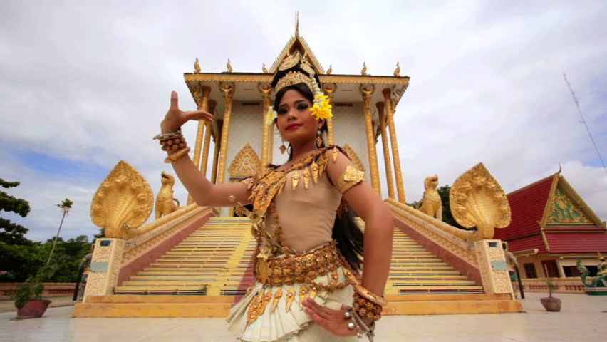 Apsara Dancer beautifully centered in front a temple Royalty-Free Stock Footage #2937286