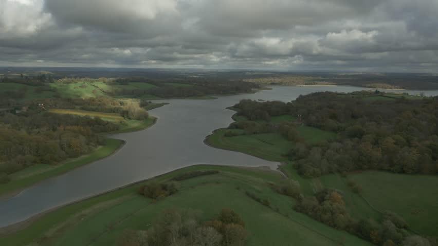 Aerial 4 of Lake in Kent, UK | Shutterstock HD Video #29396884