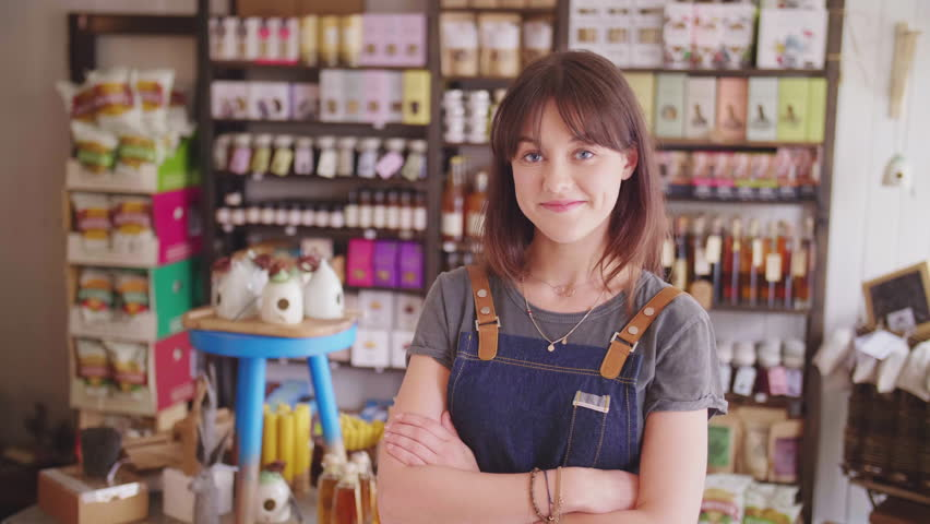 Smiling Female Deli Owner Standing Arms Crossed In Delicatessen Royalty-Free Stock Footage #29402263
