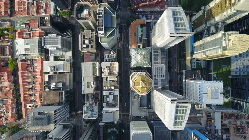 SINGAPORE - MAY 2017: Static overhead drone shot of commercial office buildings in central business district Singapore #29407801