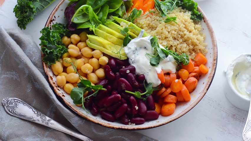 Vegan Buddha bowl with quinoa and chickpea