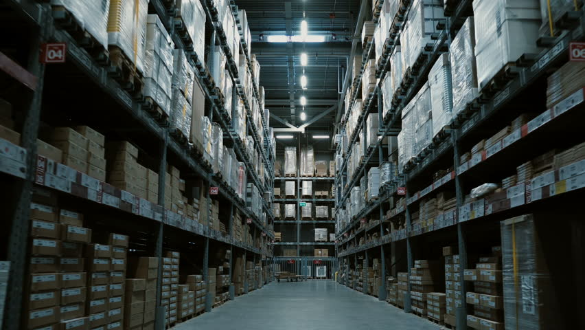 Steadycam shot of big warehouse with many goods for building or repair. Shopping mall or stock with stuff for decoration #29452684