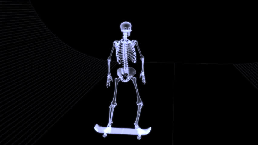 xray of human skeleton jumping freestyle with skateboard in, Skeleton