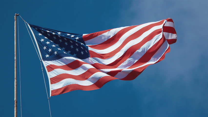 High quality video of USA flag waving in wind in 4K