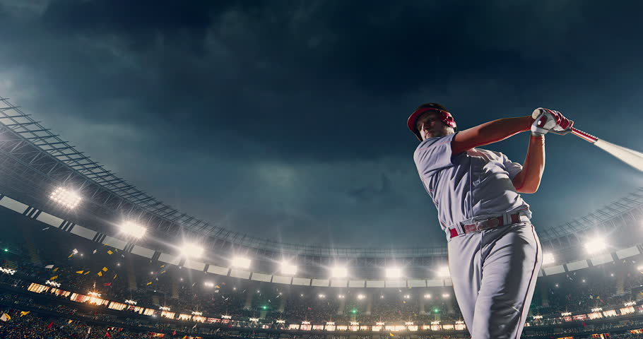 Baseball male player in action during the game on a professional baseball stadium. He wears unbranded sport clothes. The stadium is made in 3D.