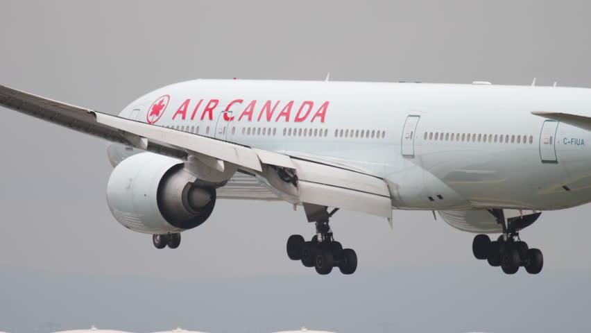 FRANKFURT AM MAIN, GERMANY - JULY 20, 2017: Air Canada Boeing 777 C-FIUA, landing on runway 25L. Fraport, Frankfurt, Germany