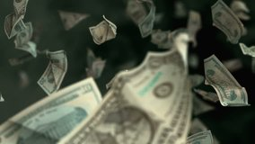 Falling Dollar banknotes in 4K Loopable. High quality falling Dollar banknotes in 4K. Video is Loopable