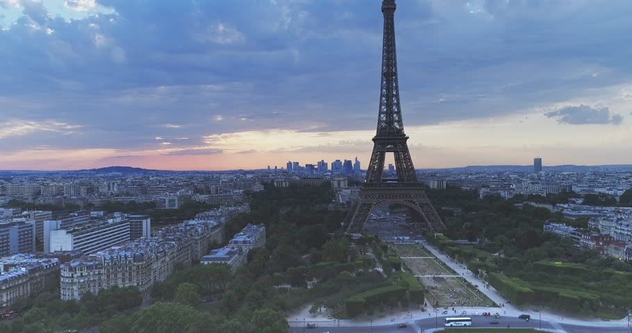 Aerial view of Eiffel tower during sunset, Paris   | Shutterstock HD Video #29493235