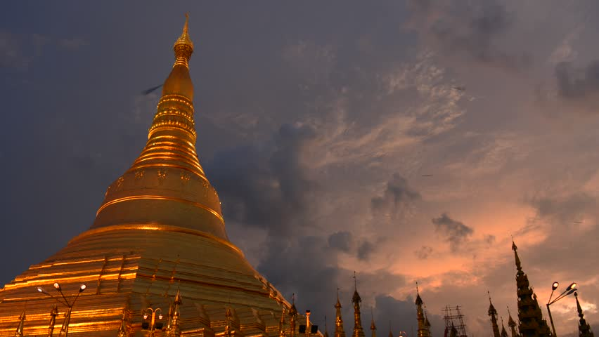 YANGON, MYANMAR - OCTOBER 24: Time lapse of Shwedagon Pagoda Yangon on October 24, 2012 in Yangon, Myanmar | Shutterstock HD Video #2949928