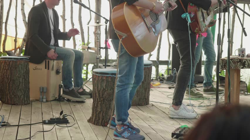 TOLIATTI, RUSSIA. CIRCA JULY 2017. Band of four guys playing guitar on stage. Side view | Shutterstock HD Video #29510548
