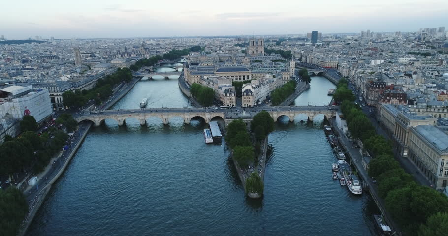 Aerial view of Paris with Seine river during sunset | Shutterstock HD Video #29543656
