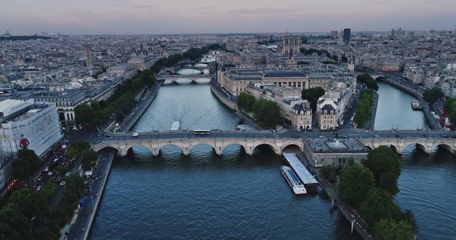 Aerial view of Paris with Seine river during sunset | Shutterstock HD Video #29543662