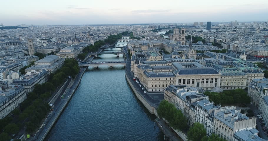 Aerial view of Paris with Seine river during sunset | Shutterstock HD Video #29543686