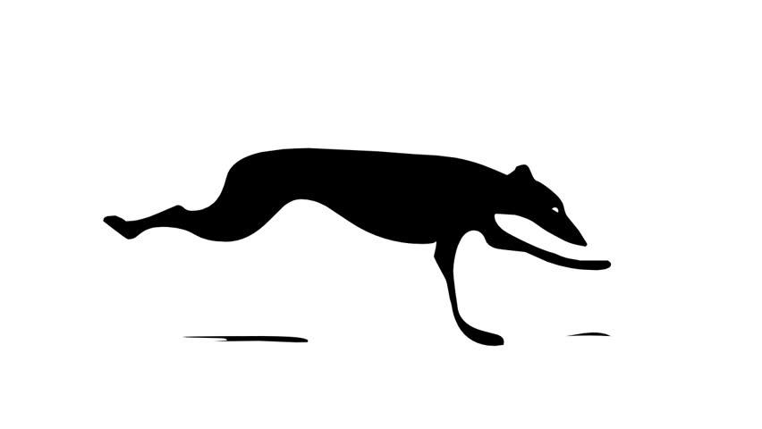 Running greyhound, seamless loop cartoon animation