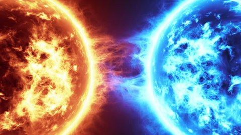 Fire Planet Vs Frozen Planet. Sun surface with solar flares against Frozen planet isolated on black. Highly realistic sun surface with space for your text or logo, Fire vs Ice full hd and 4k.