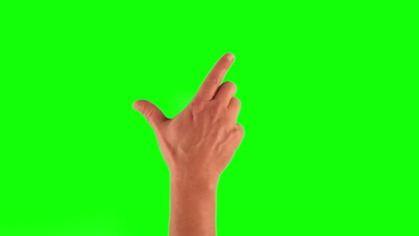 Set of 14 hand gestures, showing the uses of computer touchscreen, tablet, trackpad. Full HD with green screen. modern technology, 1080p, 1920x1080