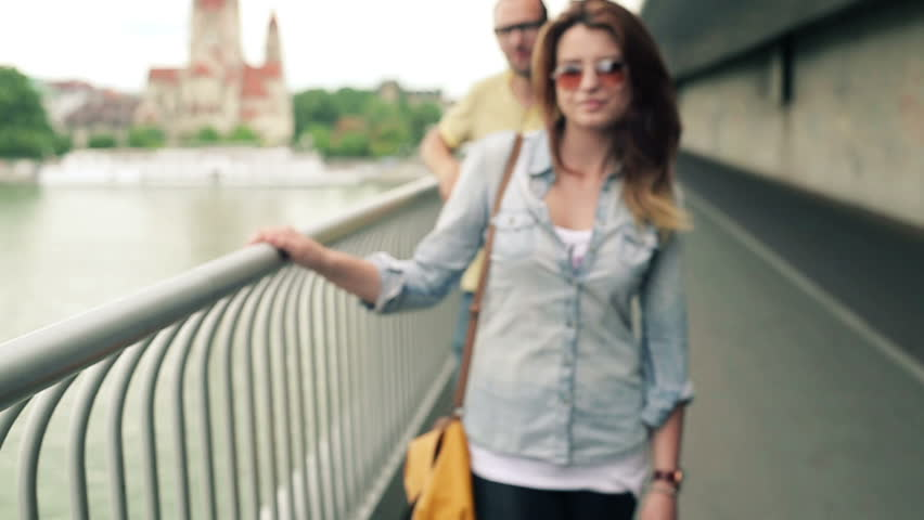 Happy couple in love in the city, slow motion, steadicam shot  | Shutterstock HD Video #2957482