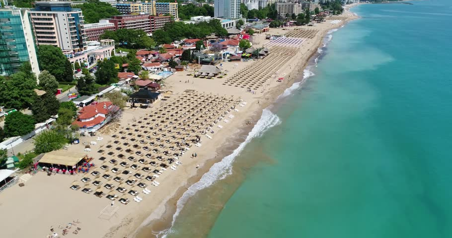 4k aerial video of the beach in Golden Sands, Zlatni Piasaci. Popular summer resort near Varna, Bulgaria   Shutterstock HD Video #29586478