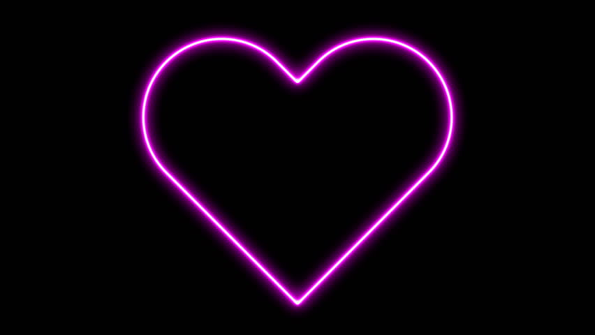 Bright neon sign heart. Retro neon heart sign on black. Design element for Happy Valentine's Day. For greeting card, banner, signboard. Available in 4K video render footage. | Shutterstock HD Video #29591506
