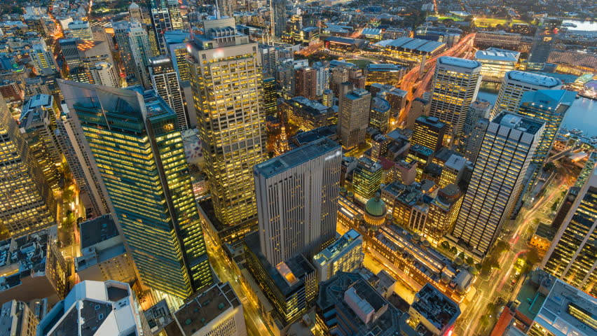4k timelapse video of Sydney CBD from sunset to night