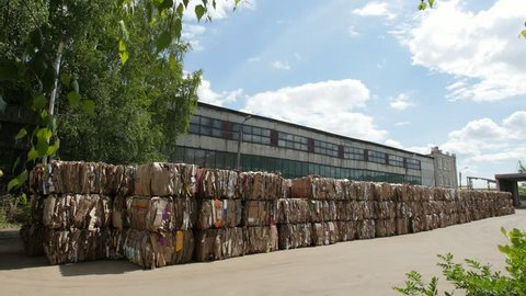 Kazan, Russia, 22 june 2017, territory of the plant ECOGRAD - compressed cardboard, slider