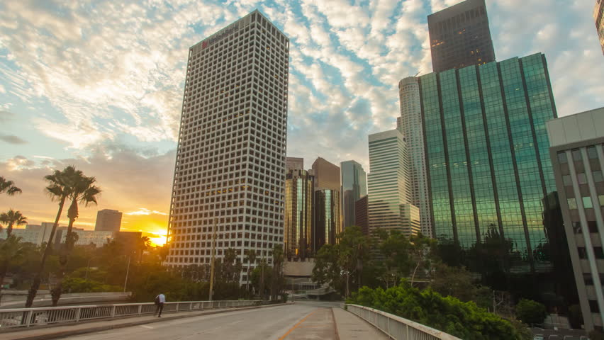 Downtown Los Angeles city skyline and skyscrapers, motion timelapse or hyperlapse.