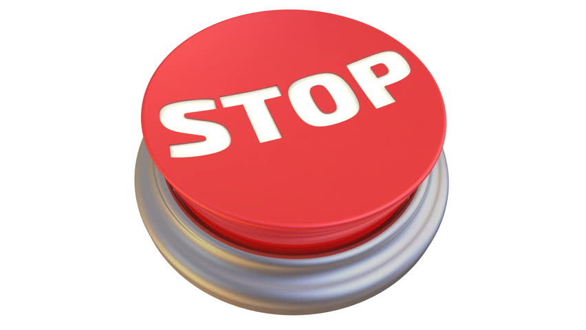 "Button with the word ""STOP"" in action. Round red button with the words ""STOP"" after pressing becomes green. Footage video 
