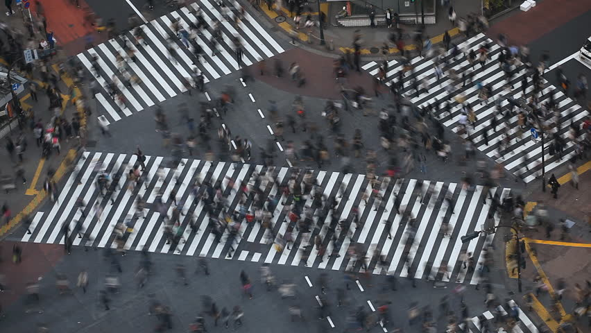 Time Lapse People Crowd Shopping Street Aerial View Pedestrians Crossing Shibuya Crosswalk Car Traffic Tokyo City Tokio Japan Japanese Anonymous Sidewalk Busy Asian Famous Tourist Attraction Rush Hour | Shutterstock HD Video #2968597