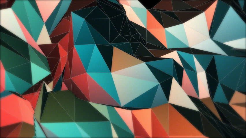 A set of triangles and shapes is moving and changing colors over 20 seconds. Summer colors, ideal to create nice kaleidoscopic effects. Ideal for vj sessions video mapping and events.