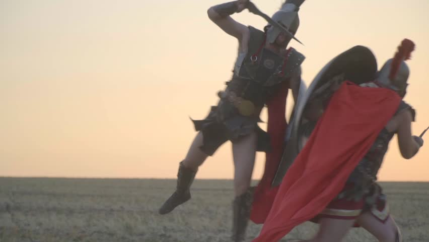 Beautiful attack in a jump performed by a Roman legionary, slow motion